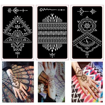 6 sztuk tatuaż z henny wzornik dla tatuaż brokatowy tymczasowy czarny Mehndi Indian szablon tatuaż szablony do malowania Henna Kit tanie i dobre opinie xmasir Tattoo stencil henna tattoo stencils 18cm * 9 5 cm 6pcs different Design tattoo stencils mehndi tattoo stencils gold henna tattoo stencils