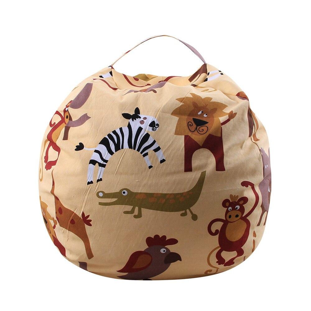 Kids Stuffed Animal Plush Toy Storage Bean Bag Soft Pouch Stripe Fabric Chair #30 3