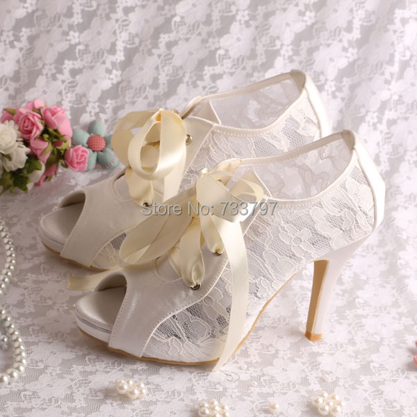 Wedopus Elegant Weddingl Shoes Ivory Lace High Heeled Ankle Bridal Boots Lace-up Peep Toe 20 colors wedopus custom handmade large size bow bridal shoes ivory low heel peep toe