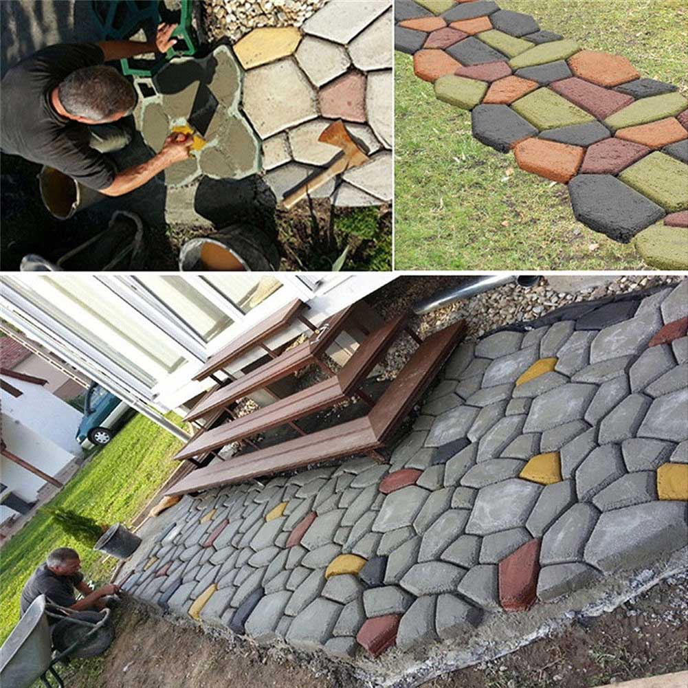❤️ Garden DIY Plastic Path Maker Pavement Model Concrete Stepping Stone  Cement Mould Brick