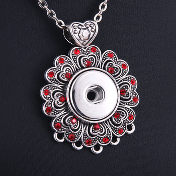 2018 New Snap Jewelry Red Crystal Pendant Snap Necklace 18mm Snap Button Jewelry Women Pendant Necklace With Chains 9868 snap button jewelry