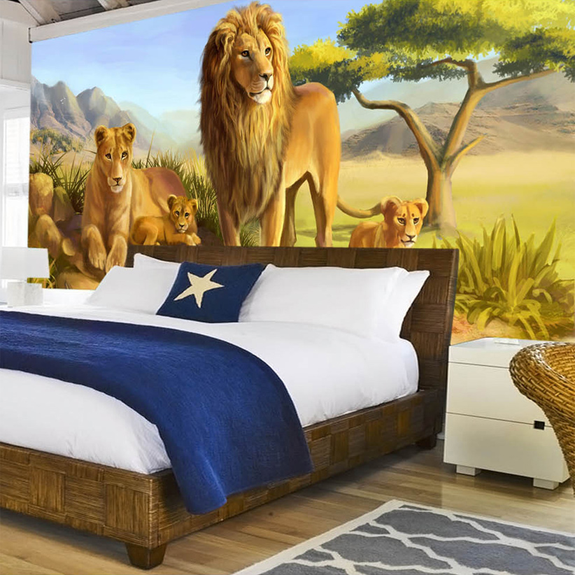 beibehang Custom 3D Photo Wallpaper Animal Lion Wall Painting Wallpaper For Kids Room Bedroom Backdrop Mural Wall Paper lavender windmill natural landscape vintage 3d room photo wallpaper for 3d livingroom wall paper prints kids wall mural rolls