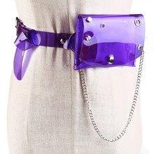 Transparent Waist Bags With Belt For Women Girls PVC Mini Purse Plastic Laser Pack Small Square Bag Dress Chain