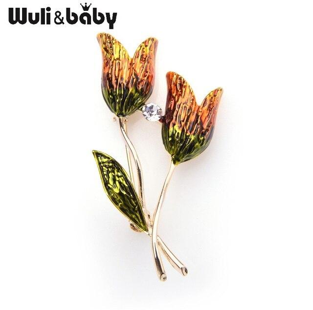 Wuli Bayi Enamel Orange Tulip Bunga Bros Wanita dan Pria Paduan Buket Perjamuan Pernikahan Bros Pin Natal Hadiah