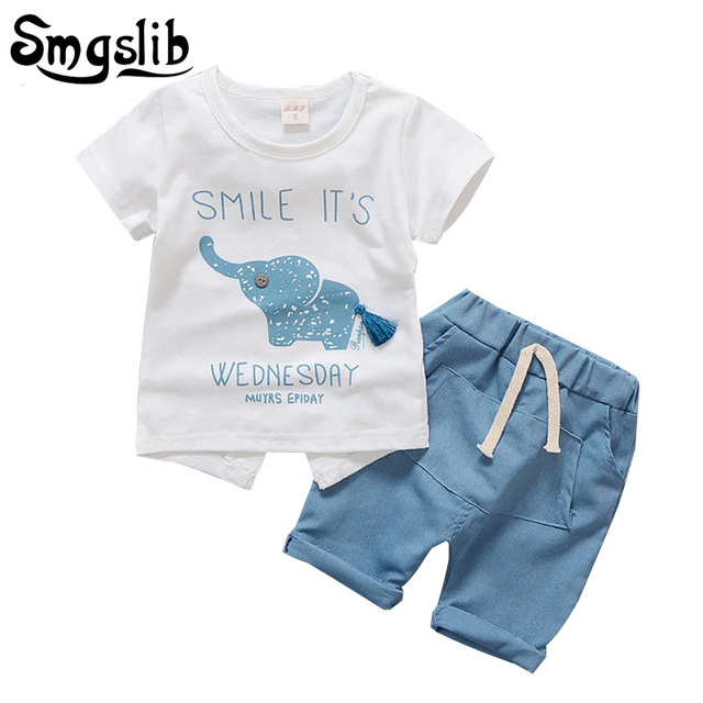 810ccddb04f62 Baby boy clothing set Infant Clothing animal Elephant newborn girl summer  clothes Short Sleeved T-shirts Tops Pants outfit