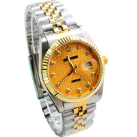 HK Fashion Brand Crown Quartz Man Luxury Gold Steel Watches Hight Quality Hot Selling Japan Movement