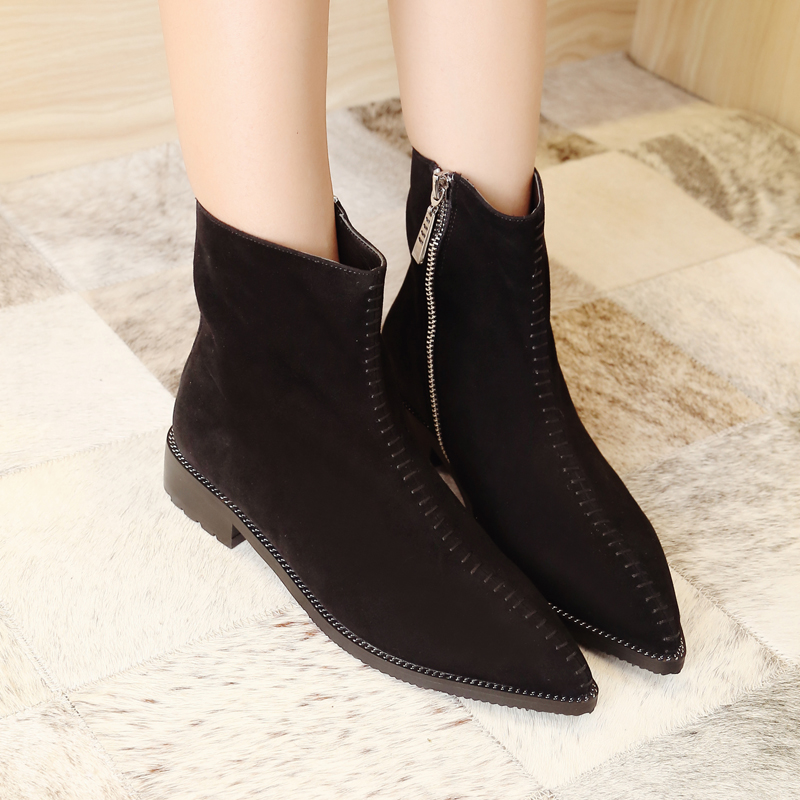 Womens Autumn Flats Ankle Boots Brand Designer Pointed Toe Short Booties Genuine Suede Leather Female Footwear Shoes for Women