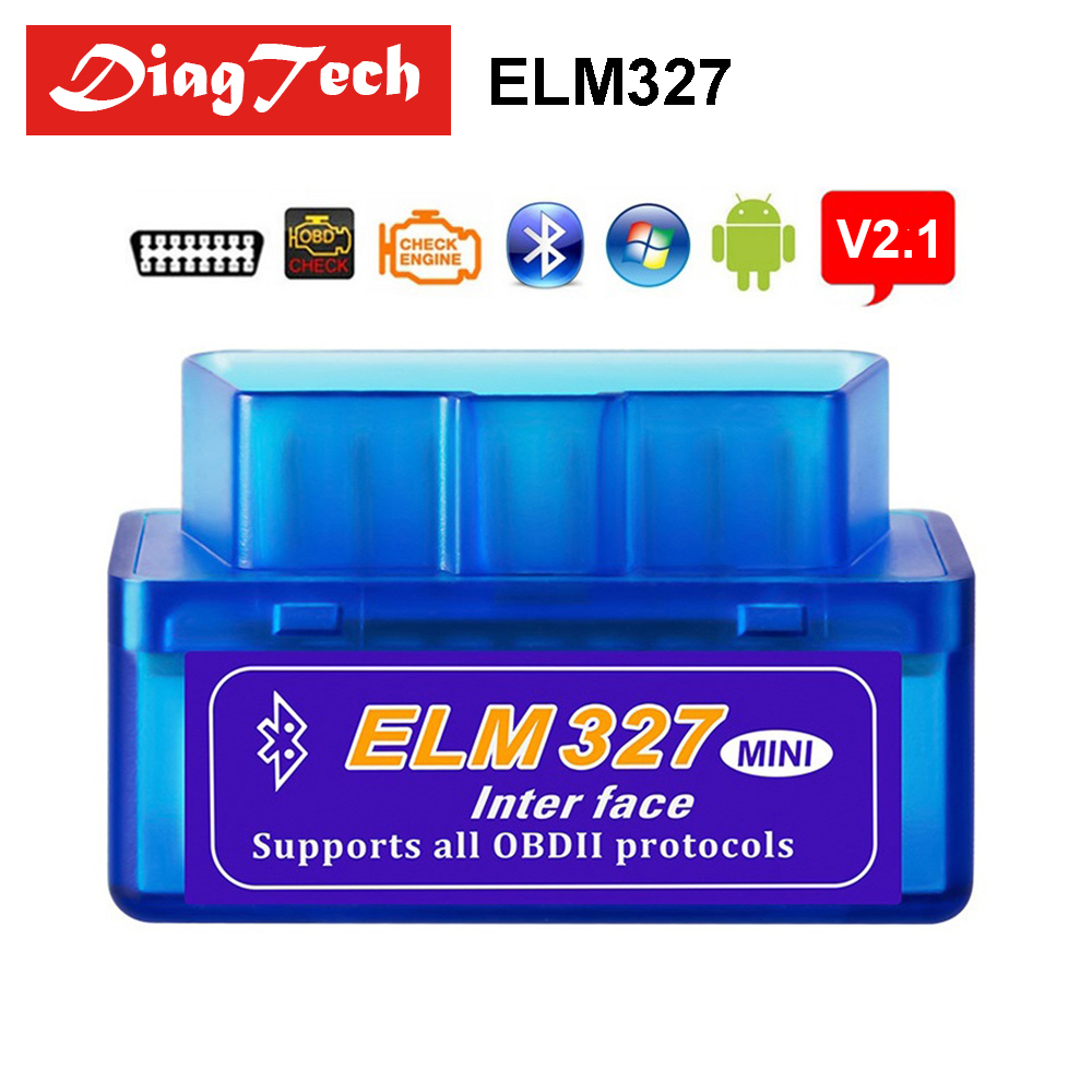 Latest Super Mini ELM327 Bluetooth V2.1 ELM 327 Car Code Reader OBD2 Car Diagnostic Tool For OBDII Protocol For Android/Windows protective abs silicone bumper case for ipad mini retina ipad mini yellow transparent
