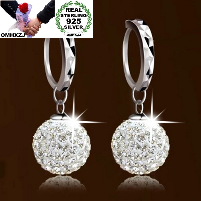 OMHXZJ wholesale Fashion jewelry AAA zircon drill ball 925 sterling silver Stud Earrings YS11