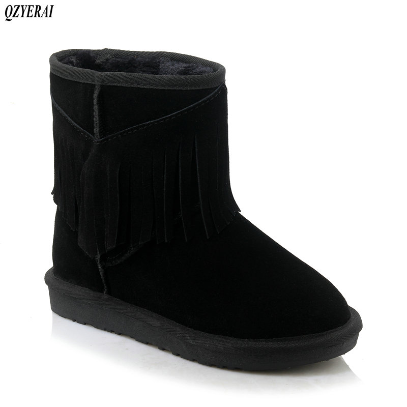 QZYERAI sheepskin leather suede winter snow boots for women real sheep fur wool lined winter shoes high quality gray black 34-43 цены