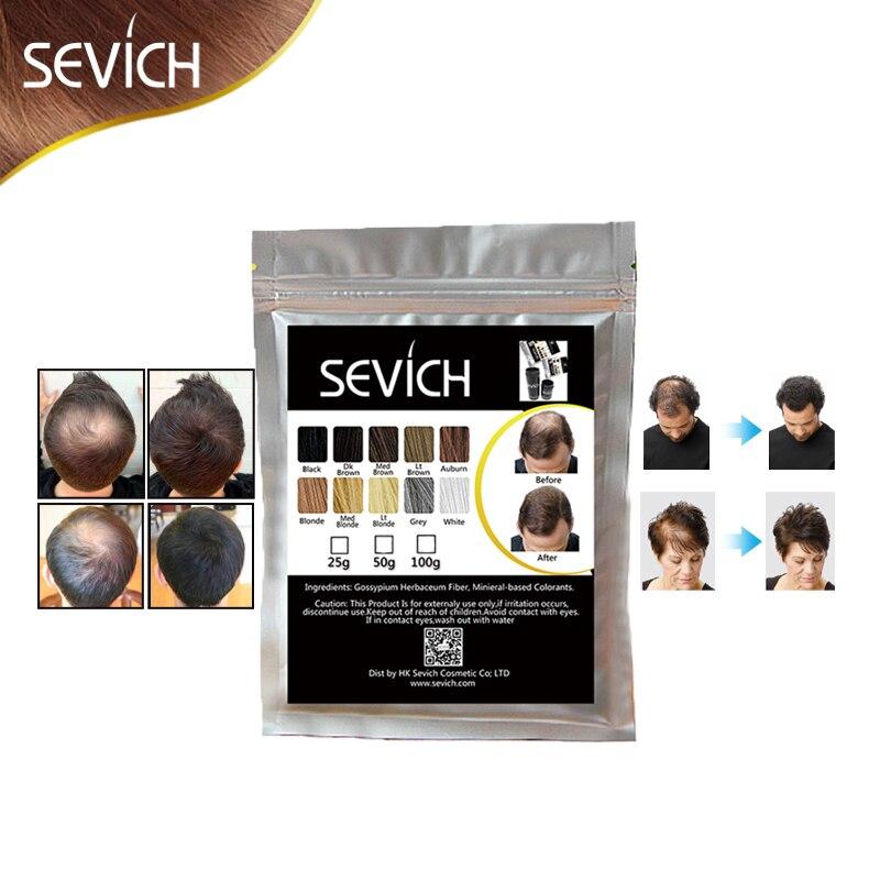 100g SEVICH pelo de queratina, fibra de adelgazamiento del cabello pérdida de estilo en polvo para el cuidado del cabello de fibra recarga Spray aplicador 10 colores