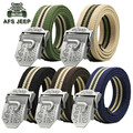 AFS JEEP Canvas Original Brand Men's Casual Belts,Cotton Style Men's Metal Buckle Military Outdoor Sports Motorcycle Belts
