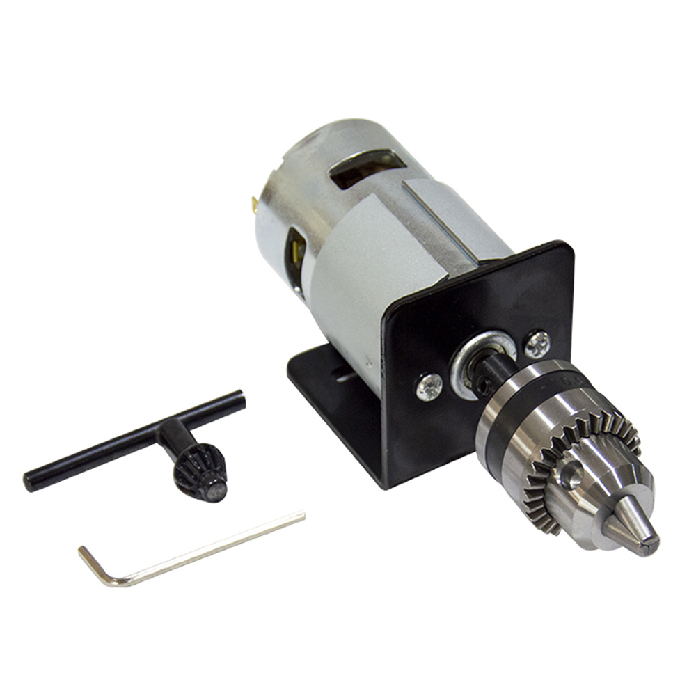 DC 12-24V Lathe Press 775 Motor With Miniature Hand Drill Chuck and Mounting Bracket 775 DC Motor 5500/10000Rpm For DIY Assembly