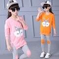 Ropa de los niños fijó otoño primavera patrón de cabeza de zorro de manga larga top + pants orange rosa