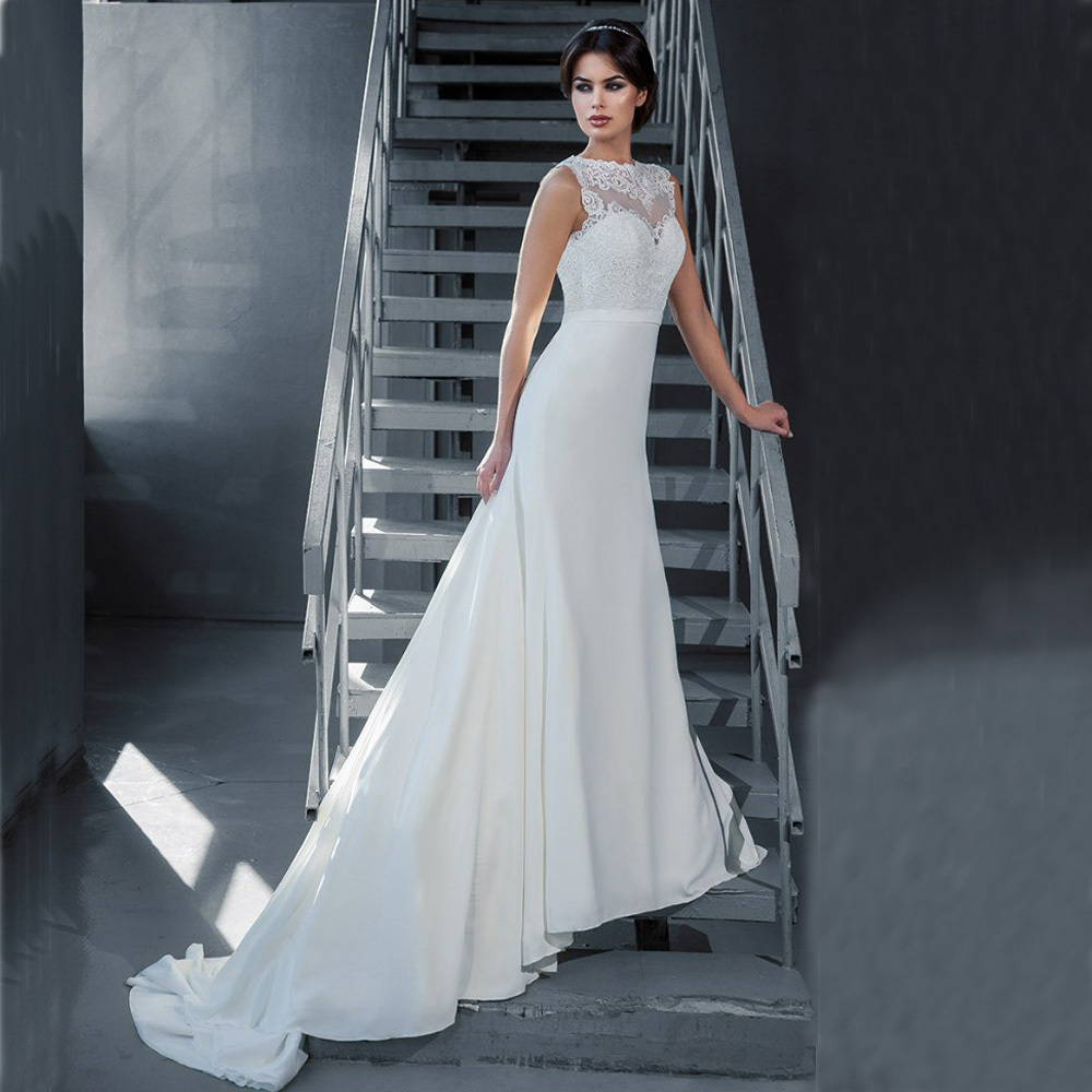 Vestido De Noiva Curto 2016 A Line New Arrival Crew Appliques Cheap Wedding Gowns Sleeveless Lace Backless Wedding Dress