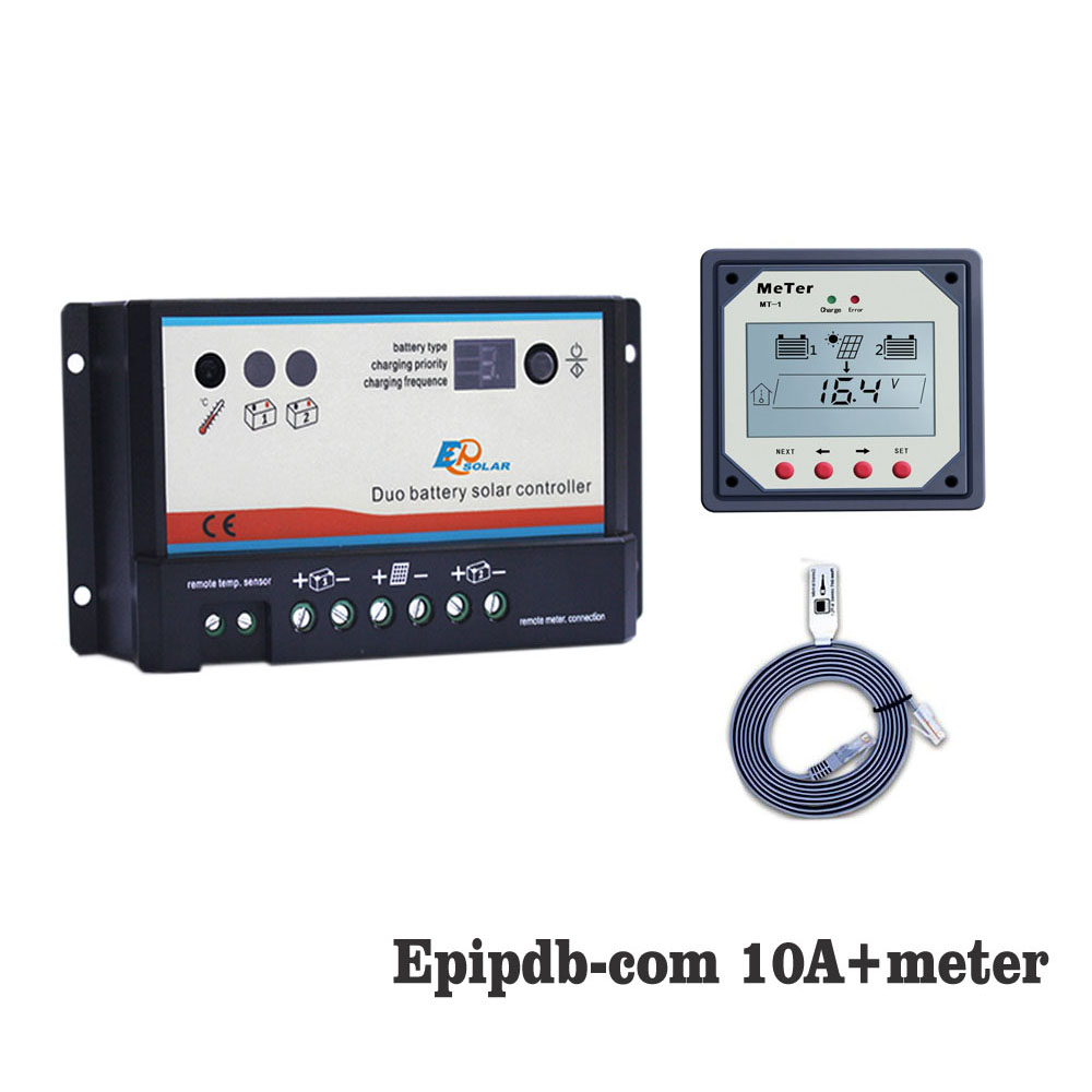 EPIPDB-COM 10A 12V 24V Dual Duo Two Battery Solar Charge Controller Regulators with MT1 MT-1 remote Meter DisplayEPIPDB-COM 10A 12V 24V Dual Duo Two Battery Solar Charge Controller Regulators with MT1 MT-1 remote Meter Display
