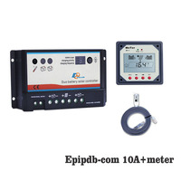 EPIPDB COM 10A 12V 24V Dual Duo Two Battery Solar Charge Controller Regulators with MT1 MT 1 remote Meter Display