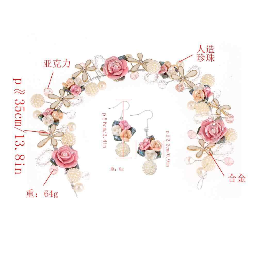الزفاف الزفاف تيارا الأميرة الكريستال تاج و طقم أقراط كوريا إكسسوارات الشعر مجوهرات العروس الوردي زهرة التيجان و التيجان