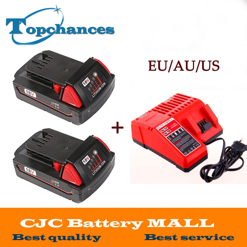 2x High Quality 18V Li-Ion 2000mAh Replacement Power Tool Battery for Milwaukee M18 XC 48-11-1815 M18B2 M18B4 M18BX Li18+charger 18v li ion 3000mah replacement power tool battery for milwaukee m18 xc 48 11 1815 m18b2 m18b4 m18bx li18 with power charger