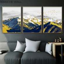 Golden Snow Mountain Canvas Poster Wall Art Print Painting Nordic Style Landscape Picture Living Room Scandinavian Home Dec