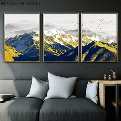 Golden Snow Mountain Canvas Poster Wall Art Print Painting Nordic Style Landscape Wall Picture Living Room Scandinavian Home Dec