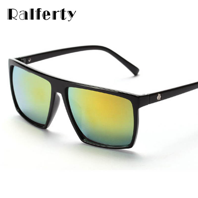 23a895a7f Ralferty الماركات مصمم مربع النظارات الشمسية الرجال النساء الجمجمة شعار  طلاء نظارات شمسية الرجعية الذكور نقاط UV400 نظارات Oculos 1825