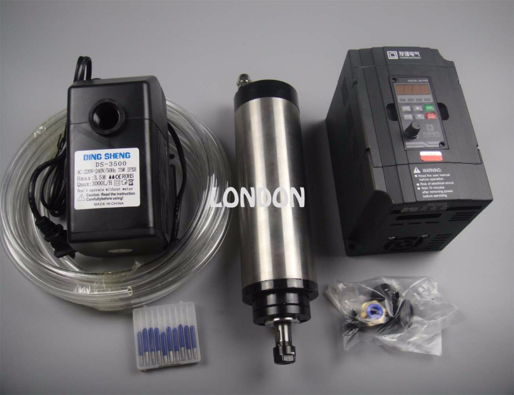 CNC spindle kit ER11 800w water cooling spindle motor + cnc engraving bits+1.5KW inverter+1 water pump+1 water pipe  цены