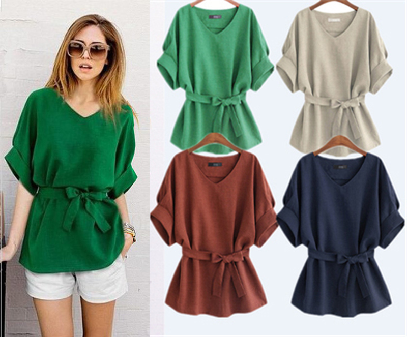 2020 Summer Plus Size 5XL shirt women blouses Linen short sleeve chiffon blouse green Bow Loose vintage ladies tops blusas mujer