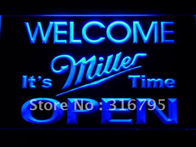 070 Welcome It's Miller Time Beer OPEN LED Neon Sign