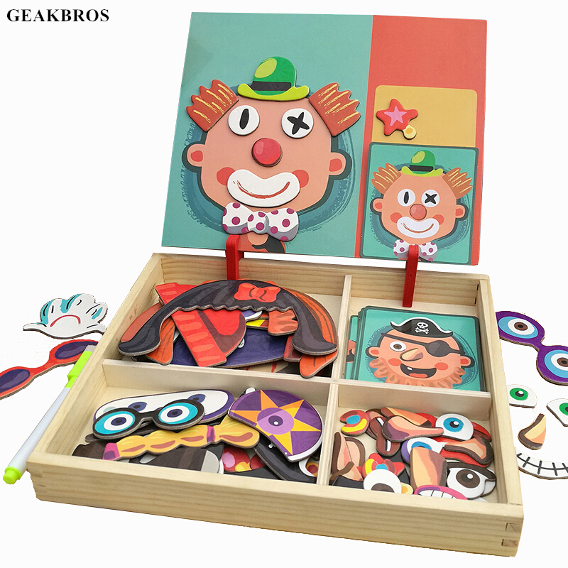 3D Wooden Magnetic Puzzle Toys Sticker  Montessori Baby Dress Up Educational Figure Animals Vehicle Drawing Board Learning Toys