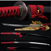 Damascus Full Tang KATANA Japanese Samurai Sword Folded Steel Very Sharp Oil Quenched Blade Can Cut Bamboo Alloy Dragonfly Tsuba