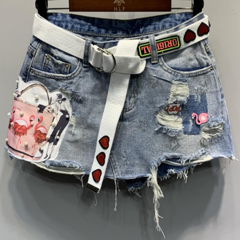 2109 summer denim   shorts   women new fashion anti-lighting hole beading patch jeans   shorts