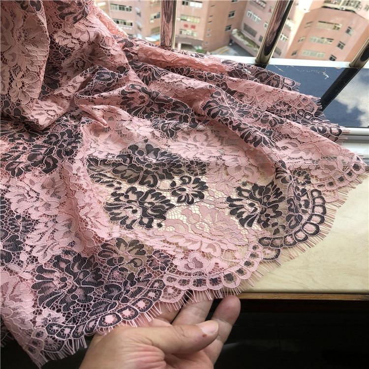 eyelash style floral black lace trim soft cotton lace trimming Per Yard 90cm