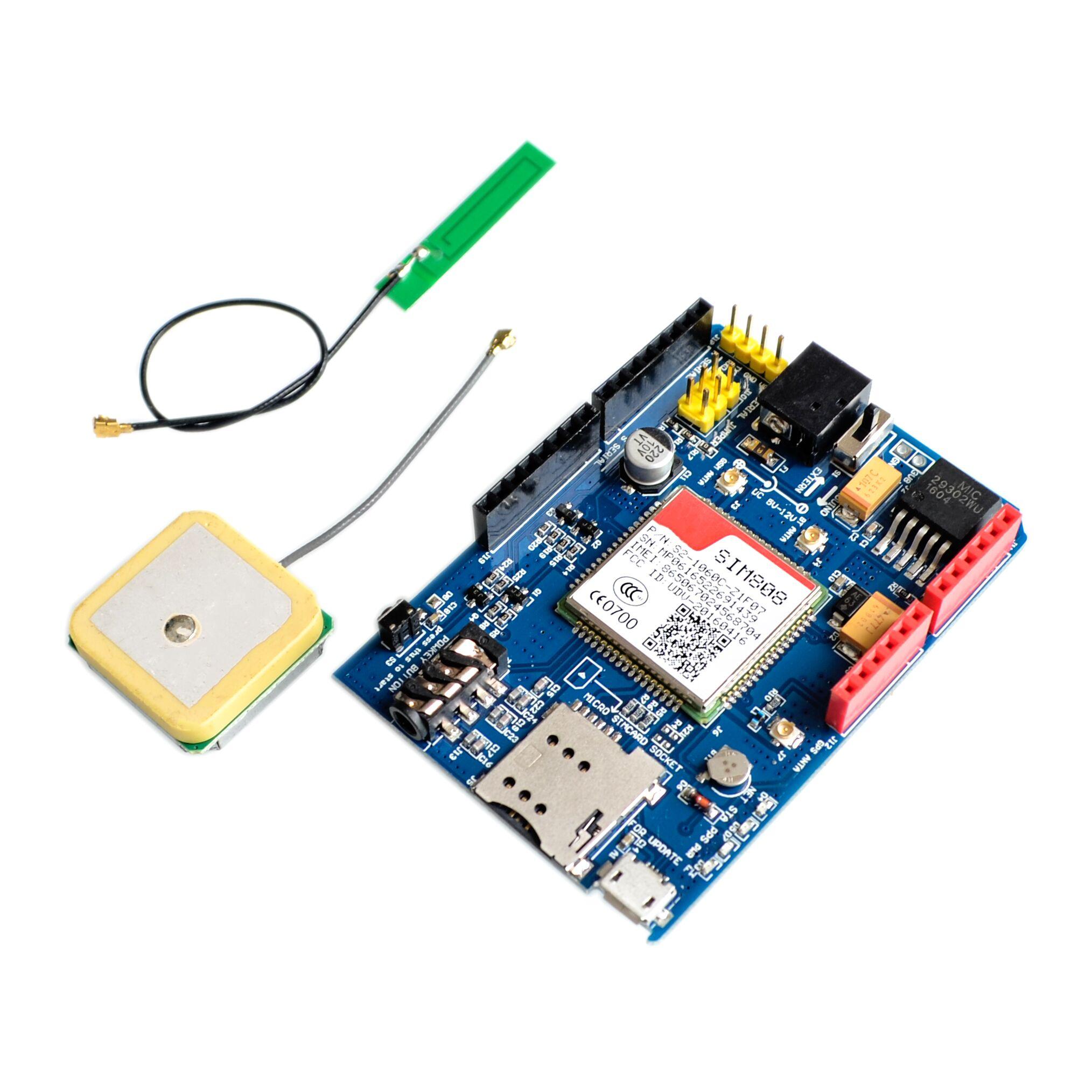 Haute qualité SIM808 GPRS/GSM + GPS bouclier 2 en 1 bouclier GSM GPRS GPS carte de développement SIM808 Module pour Arduino-in Circuits intégrés from Composants électroniques et fournitures on AliExpress