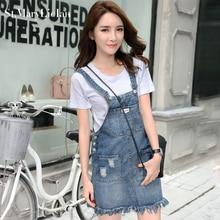 Summer Skirt Women Denim Suspender Skirt Jeans skirt Blue Jeans Casual shoulder-straps Top Quality Front Pocket Overall Skirt
