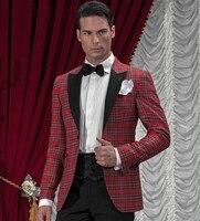 Black Red Men Tartan Suit Blazer Custom Made Haute Couture Bespoke Tartan Plaid Fabrics Wedding Tuxedos