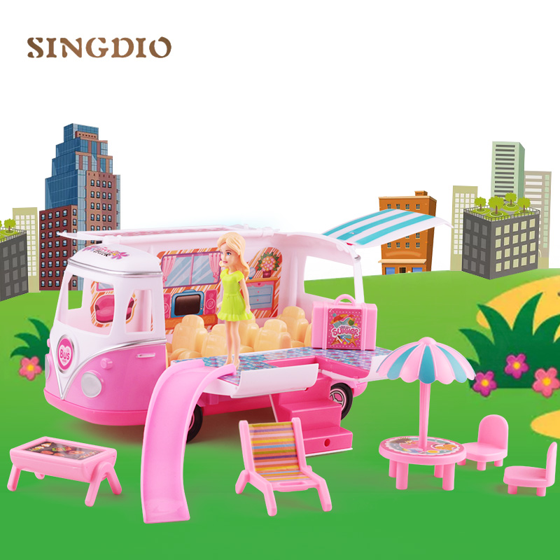 Fun Picnic Little Toys Baby For Children Girls Barbie Set Bus Siku Play Toys Car With Clothes Hair Handbag Gift For 6 Years