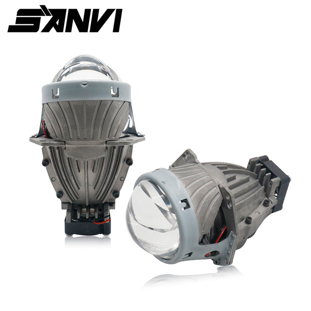 Free Shipping Sanvi 3inches 35W 5500K Hi Low Beam Auto LED Lens Headlight Super Bright Bi LED Projector Lens for Car Styling