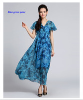 Pure silk chiffon V neck short sleeve print dress,100% natural silk high waist pleated butterfly sleeve dresses