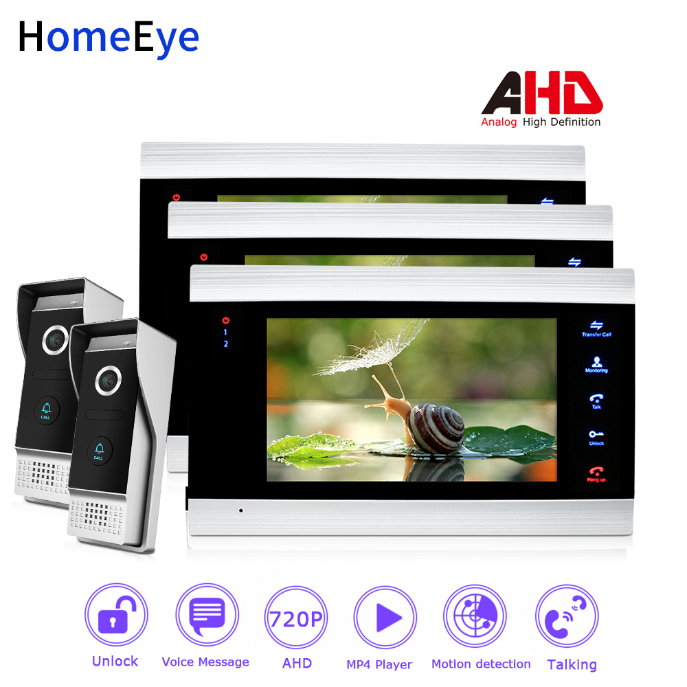 HomeEye 720P AHD Video Door Phone Video Intercom Home Access Control System 2-3  Wide View Angle Motion Detection Security Alarm