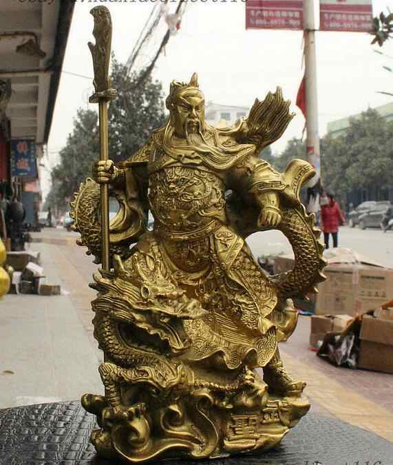 China Brass Dragon Robe Stand Dragon Warrior Guan Gong Yu Door-God Sword Statue