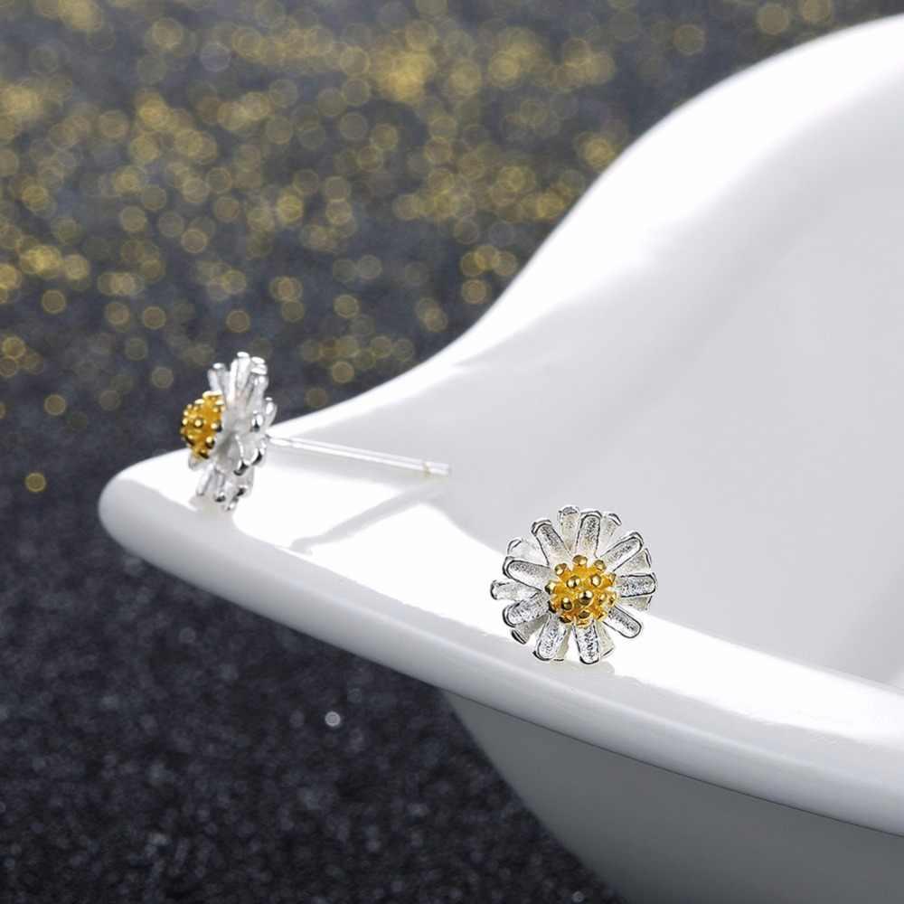 Nova moda prata banhado brincos para as mulheres brincos do parafuso prisioneiro Da flor Da Margarida Crisântemo Amarelo bonito romântico jóias drop shipping