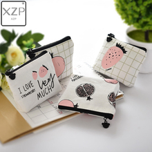 XZP Small Cute Kids Coin Wallet Women Coin Purse Money Strawberry Pomegranate Fruit Letters Printed Change Pouch Key Holder Bag цена