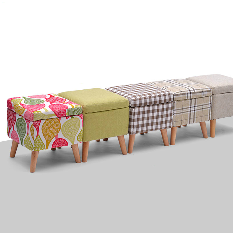 Household Solid Wood Change Shoe Bench Cloth Seat Multifunction Sofa Stool Washable Wooden Storage Stool Stable Dressing Stool