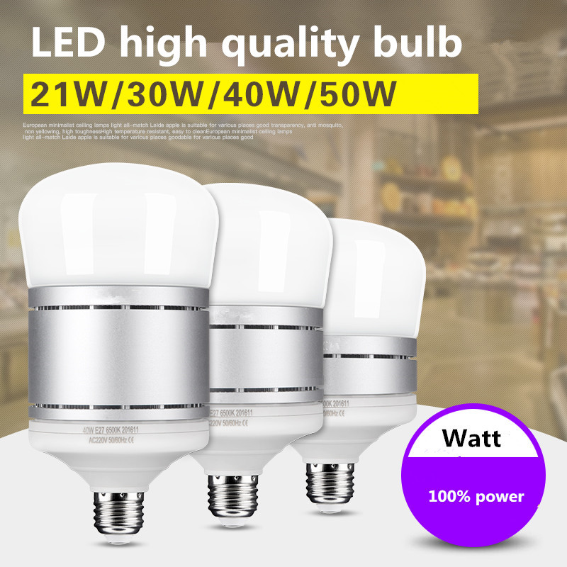 LED high-quality energy-saving light bulb E27 super bright commercial / household bulb white light 21W 30W 40W 100% Watt high quality 9w epistar led spot bulb e27 base par38 led light 900lm white ac85 265v ce