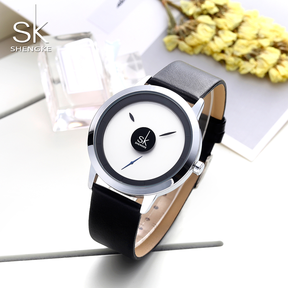 Shengke watch for couple fashion creative design Quartz Watch Women man Wristwatch Clock Relogio Feminino new 2019 in Women 39 s Watches from Watches