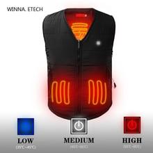 цена New Electric Heated Vest Men Women Winter Warm Thick Waistcoat Thermal Cotton Vest 3 Level USB Battery Charging Vest for Hunting онлайн в 2017 году