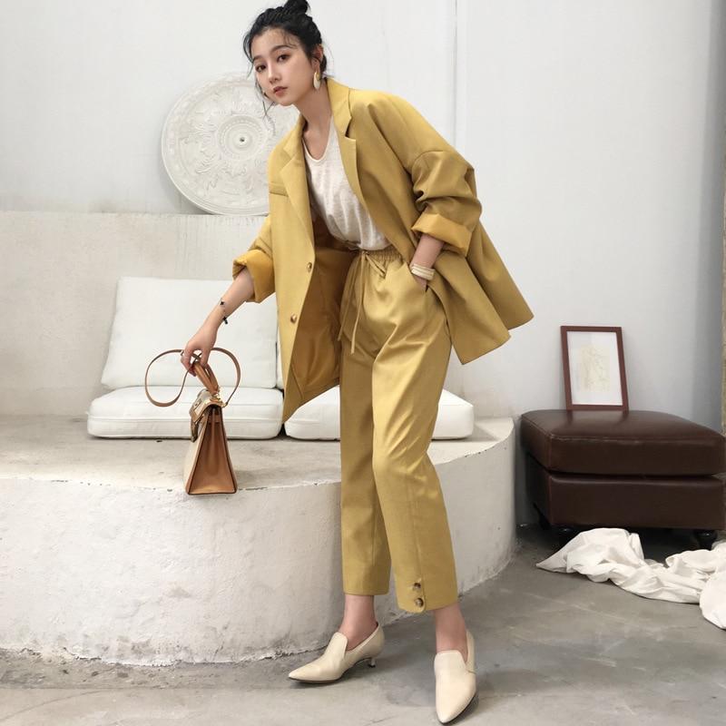 Suit Female 2019 Autumn New Temperament Casual Loose Long Suit Jacket + Pants Solid Color Elegant Fashion Wild Two-piece