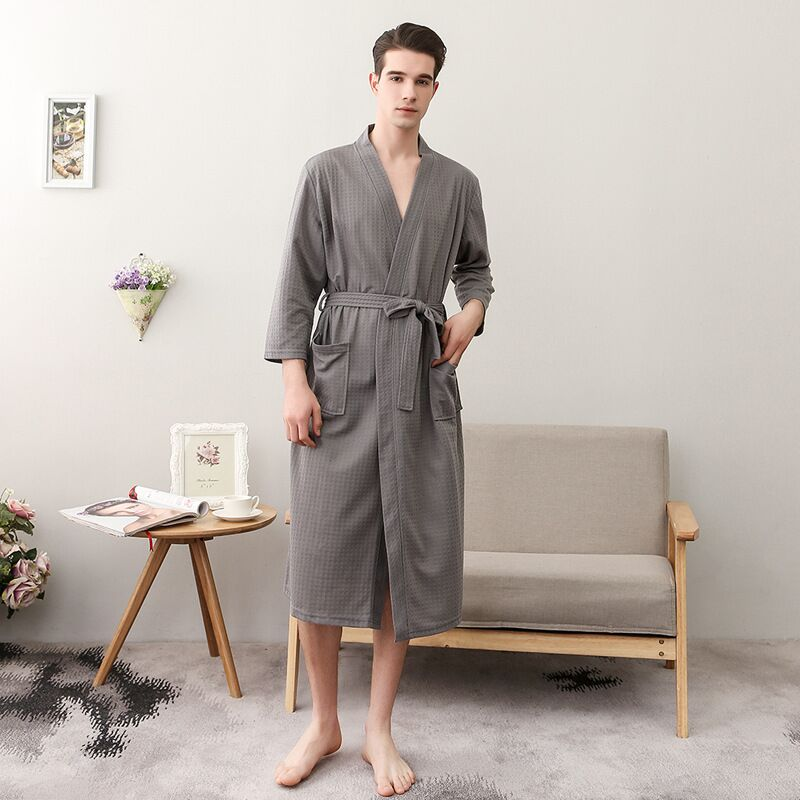 New Men Night Robe Kimono Bathrobe For Male Casual Home Wear Waffle Robes Summer Thin Dressing Gown Sleepwear Home Robes