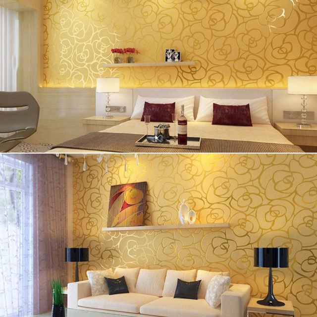 3D Embossed Waterproof PVC Gold Rose Designer Wallpaper for Warm